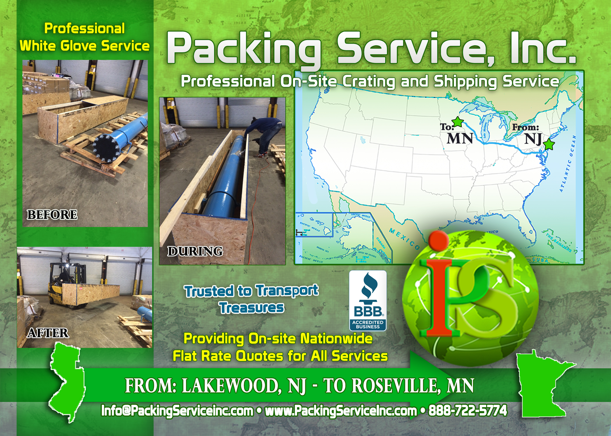Building custom wooden crates for any sized object is what we do here at Packing Service, Inc