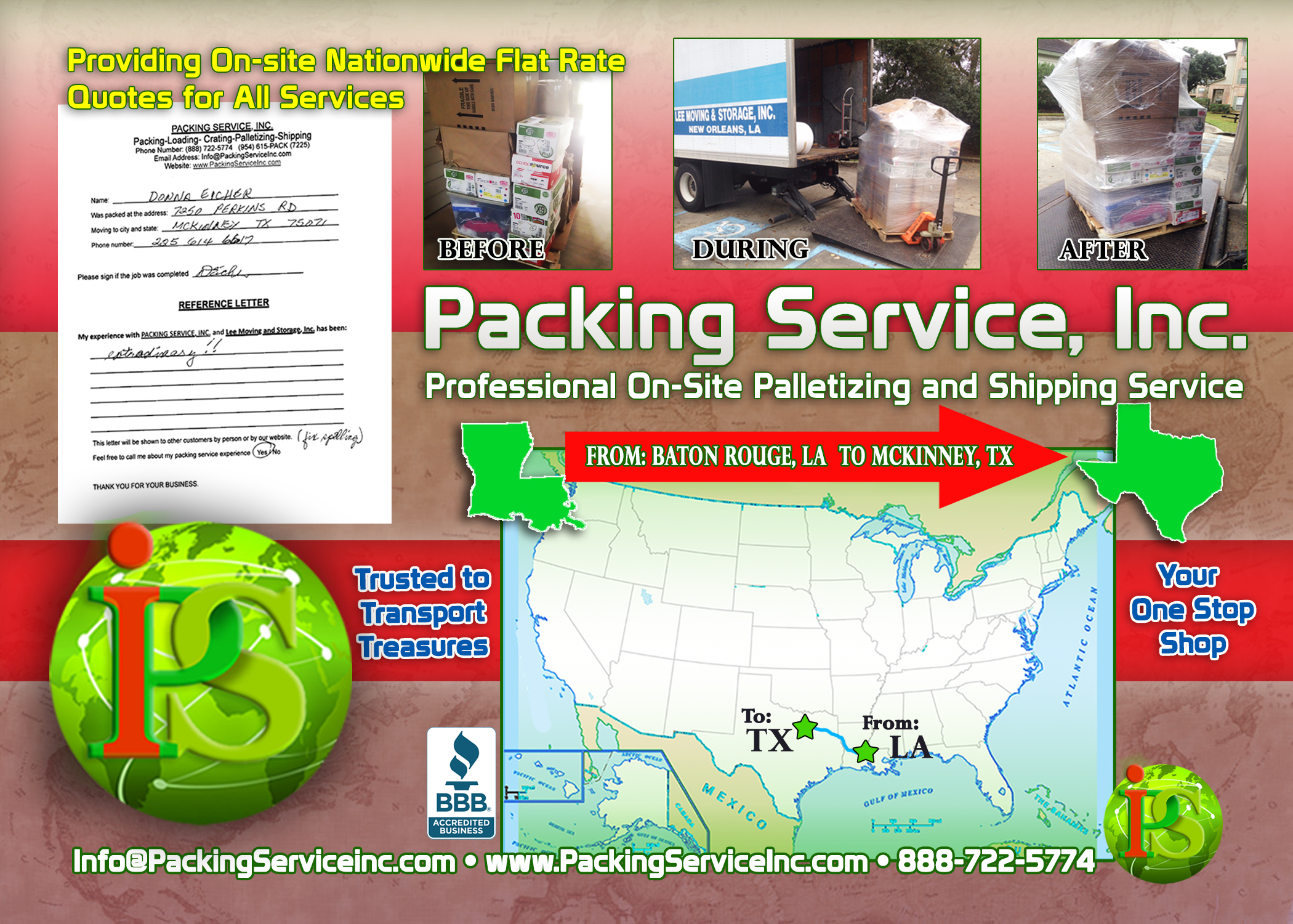 Palletizing boxes for domestic and international shipping is one of the many services we offer at Packing Service Inc.