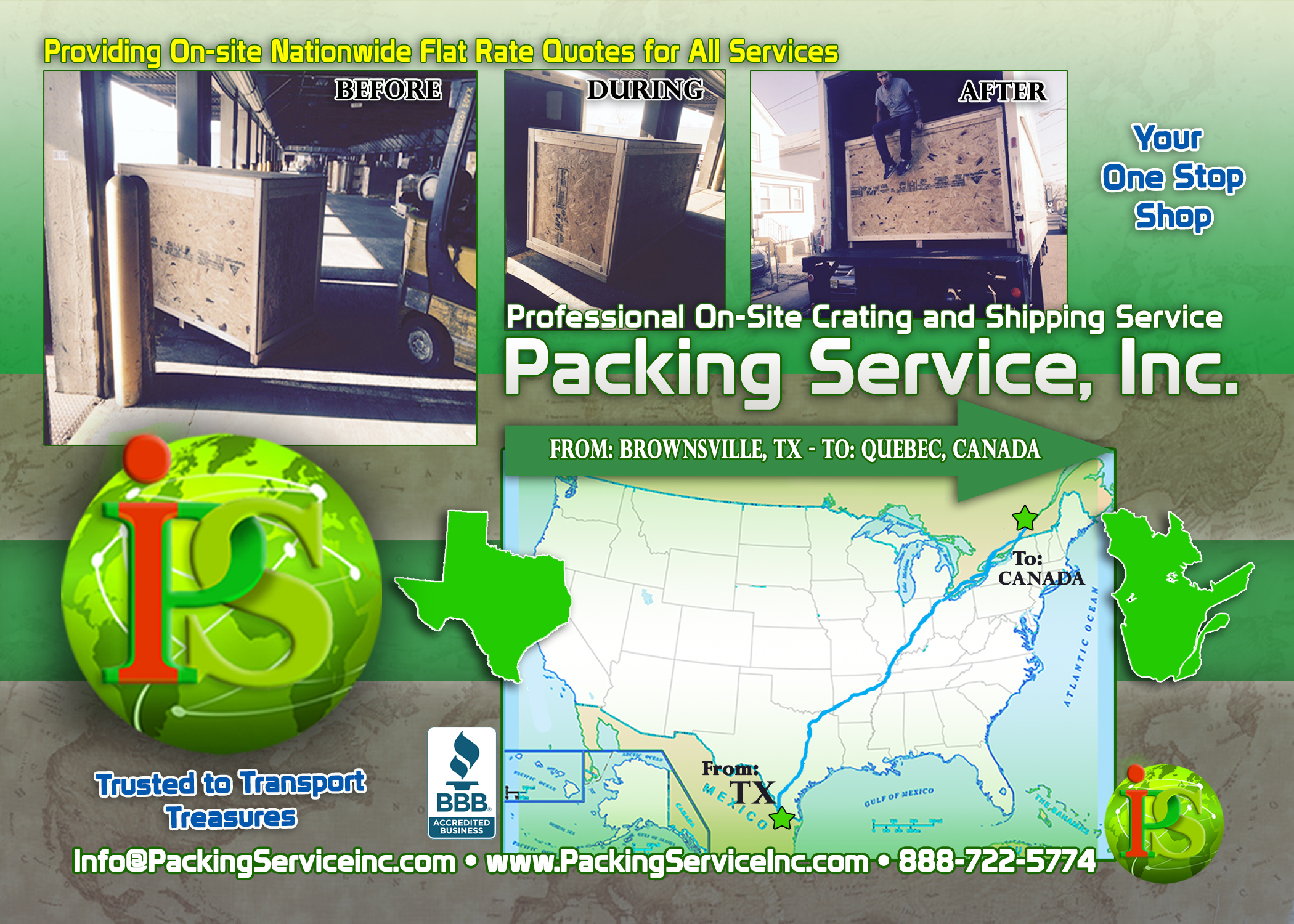 Custom wooden Crates and Shipping Services TX-CANADA with Packing Service, Inc. B