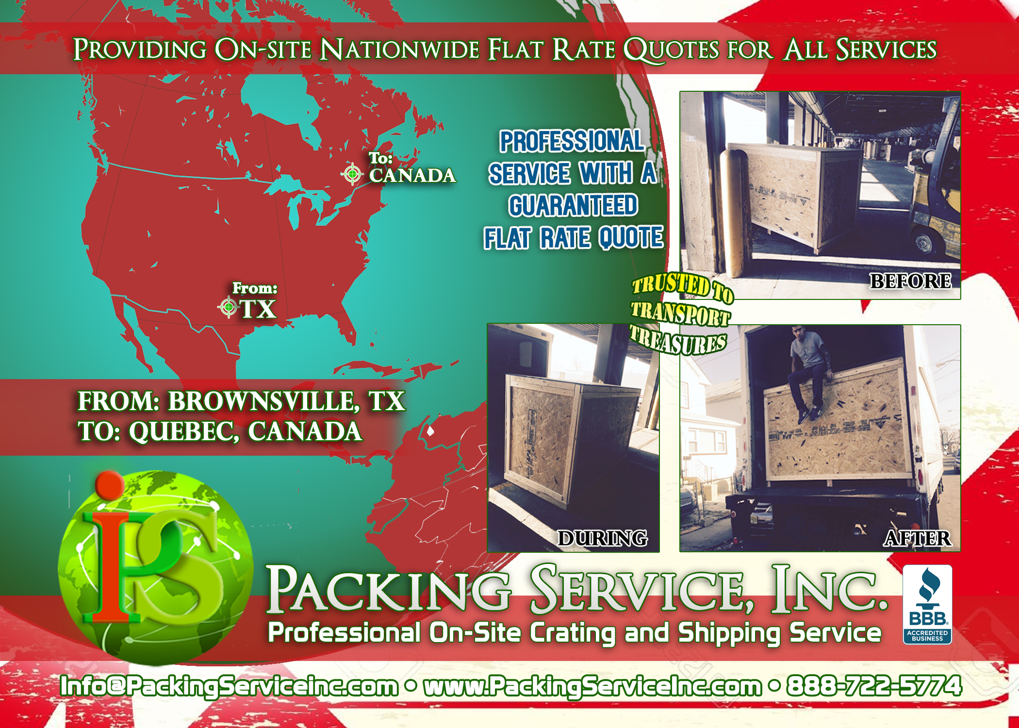 Custom wooden Crates and Shipping Services TX-CANADA with Packing Service, Inc. E
