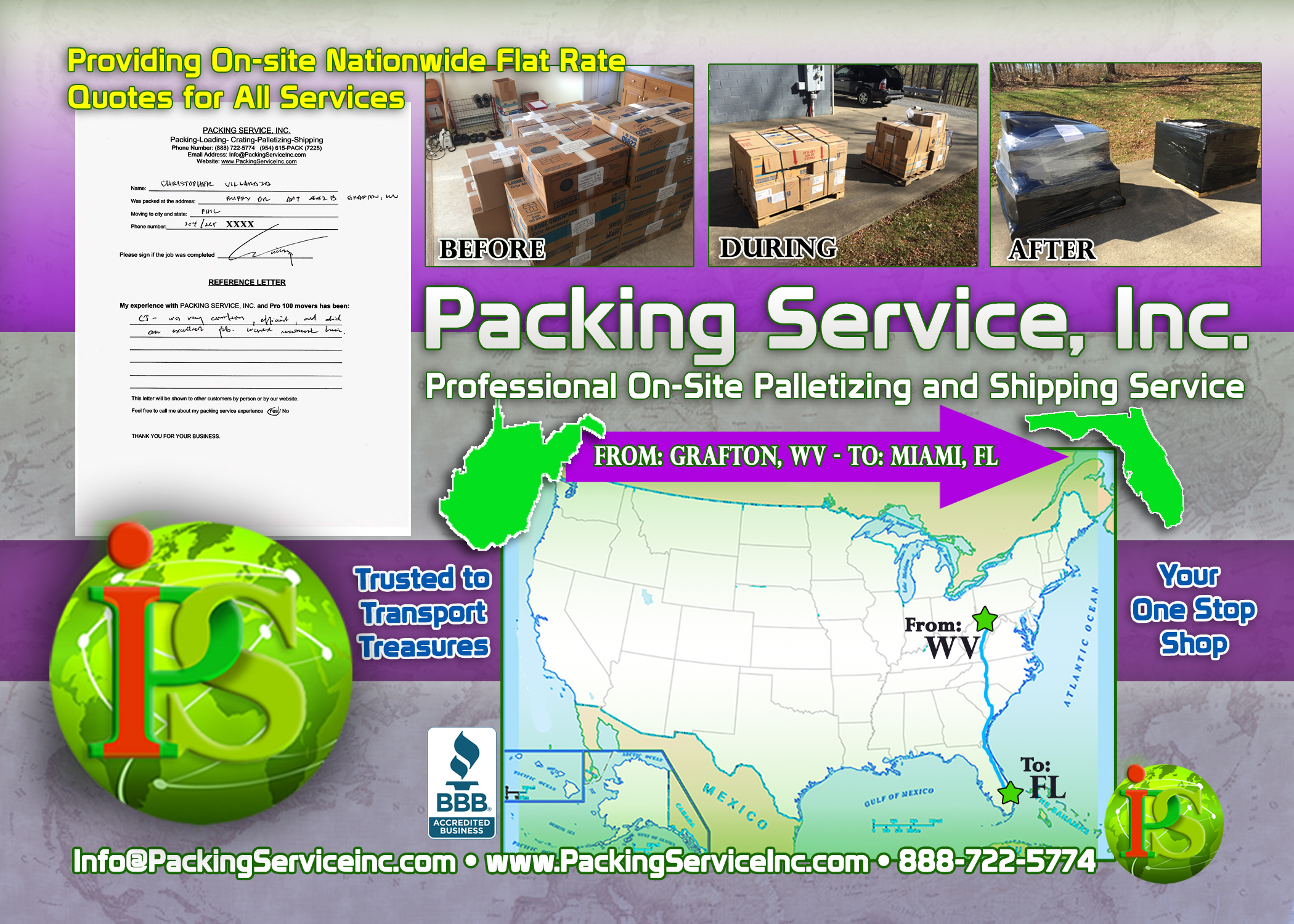 Palletizing Boxes and Shipping Services WV-FL with Packing Service, Inc. - 142
