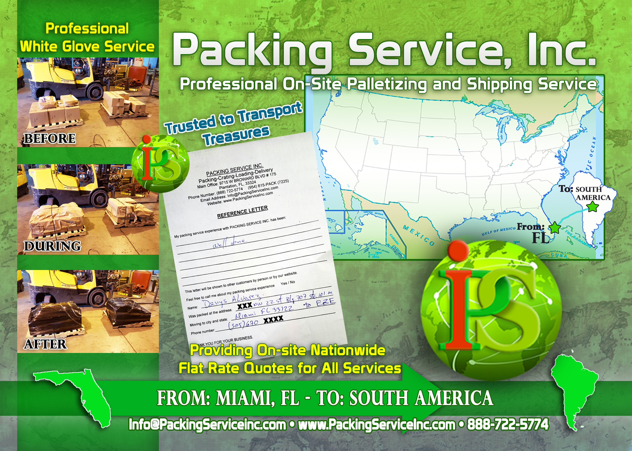 Palletizing Boxes and Shipping Services from Miami, FL to South America with Packing Service, Inc. A
