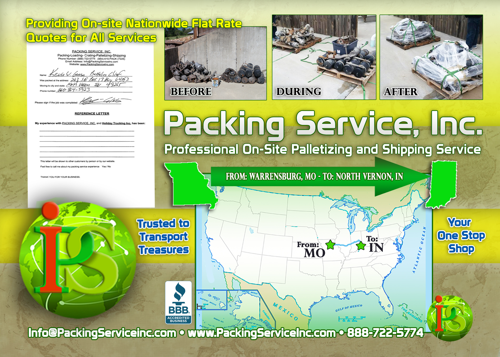 Palletizing Machinery parts and Shipping Services MO-IN by Packing Service, Inc. - 278