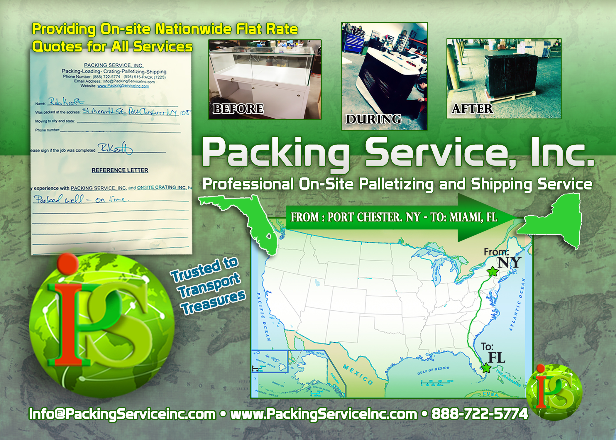 Wrapping, palletizing and shipping from NY-FL by Packing Service, Inc. - 115