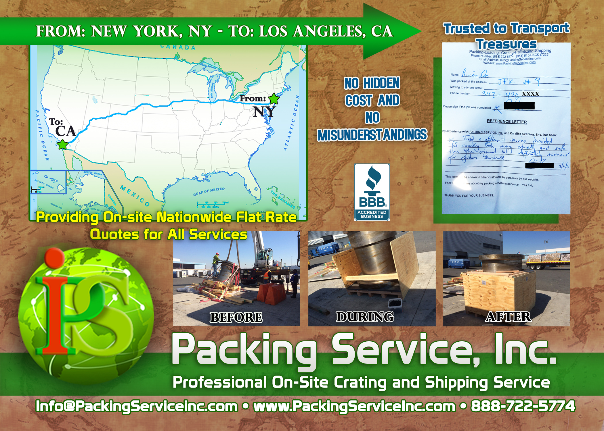 Crating and Shipping from JFK airport NY to Los Angeles, CA with Packing Service, Inc. 3