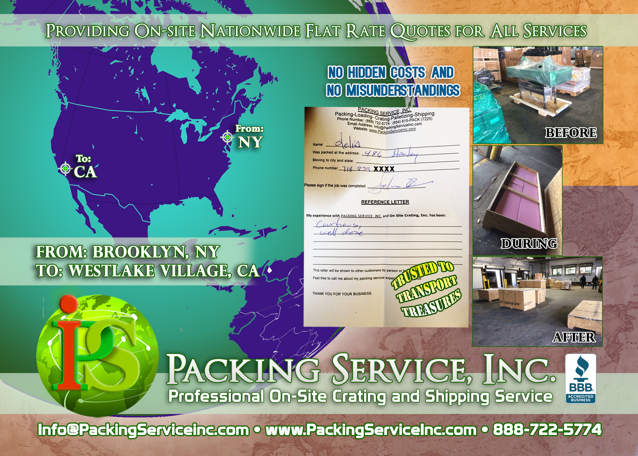 Domestic Custom wooden crates and shipping services NY-CA with Packing Service, Inc. E