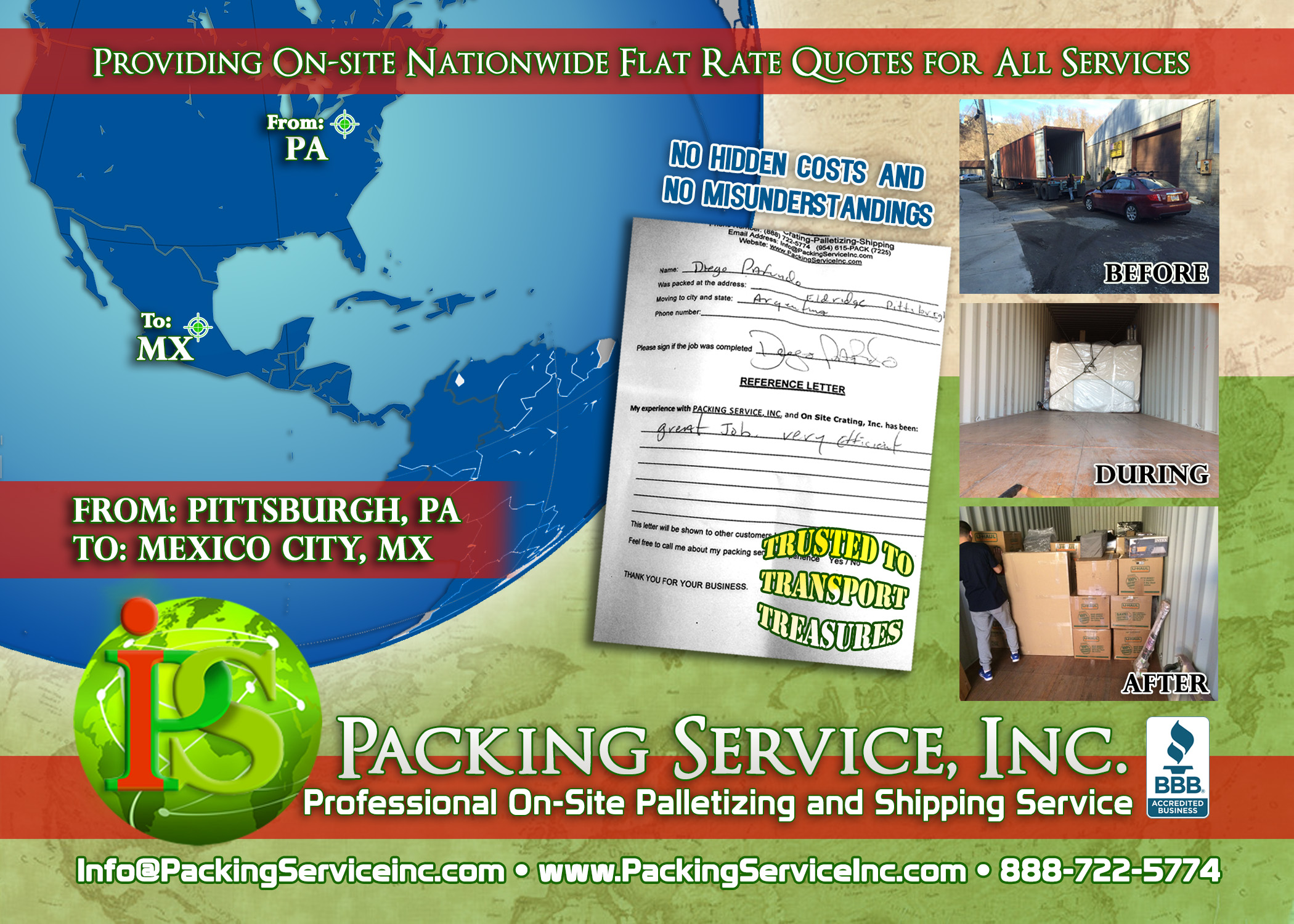 Loading 40 foot international container with car PA-Mexico with Packing Service, Inc E