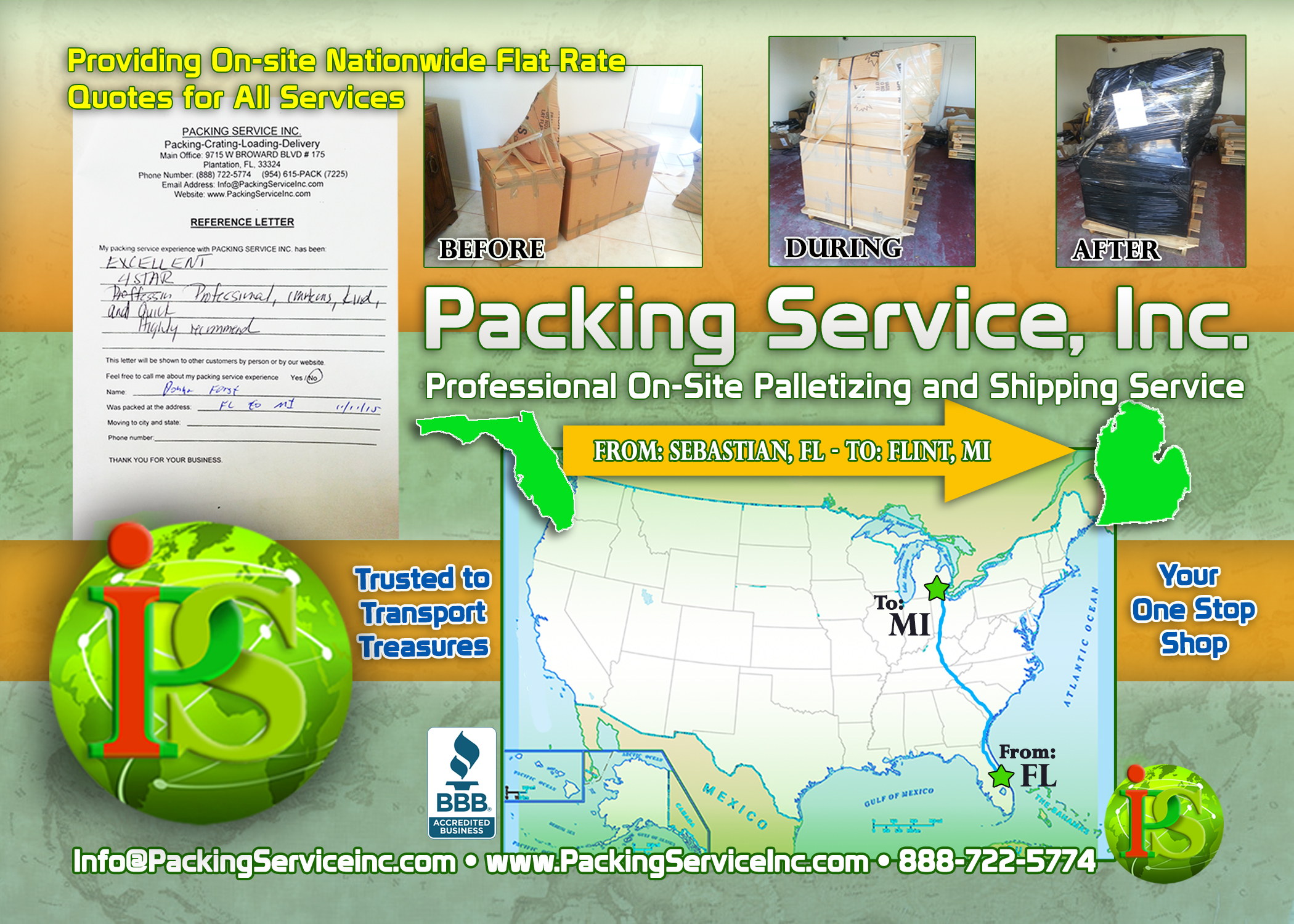 Packing Boxes, Palletizing and Shipping FL-MI with Packing Service, Inc. - 211