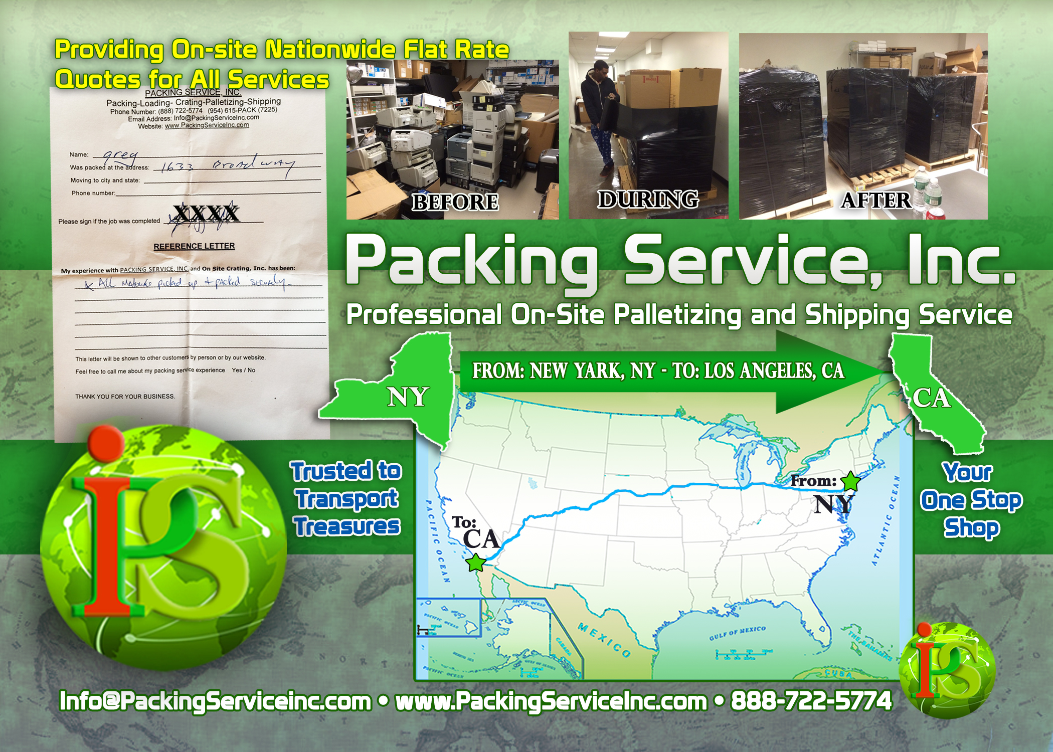 Packing computer items, palletizing services and shipping from NY to CA with Packing Service, Inc. 2