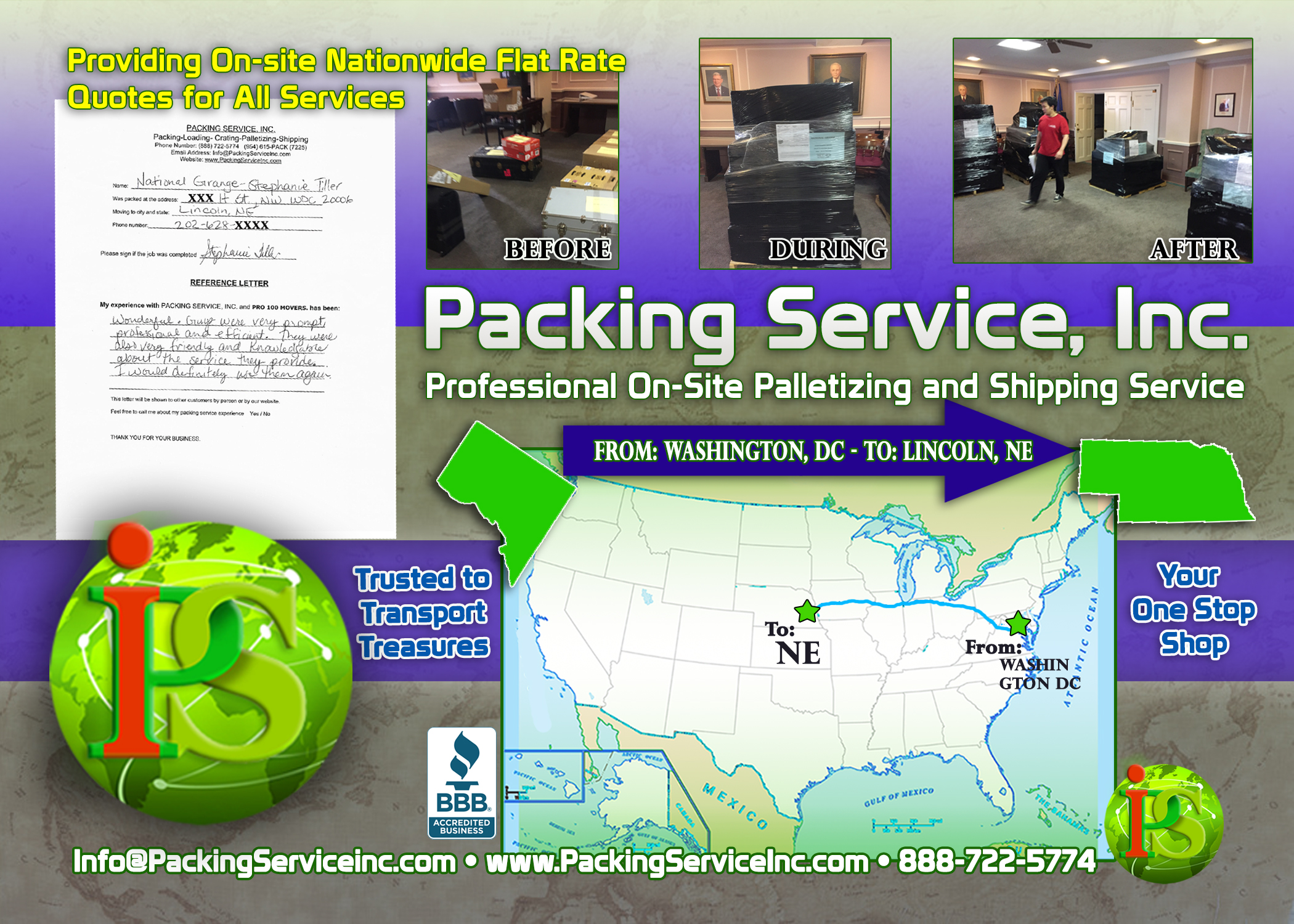 Palletizing Boxes and Shipping Services DC-NE with Packing Service, Inc. - 612
