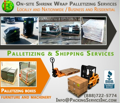 Shrink Wrapping Palletizing for Global Shipping by Packing Service, Inc. - 104
