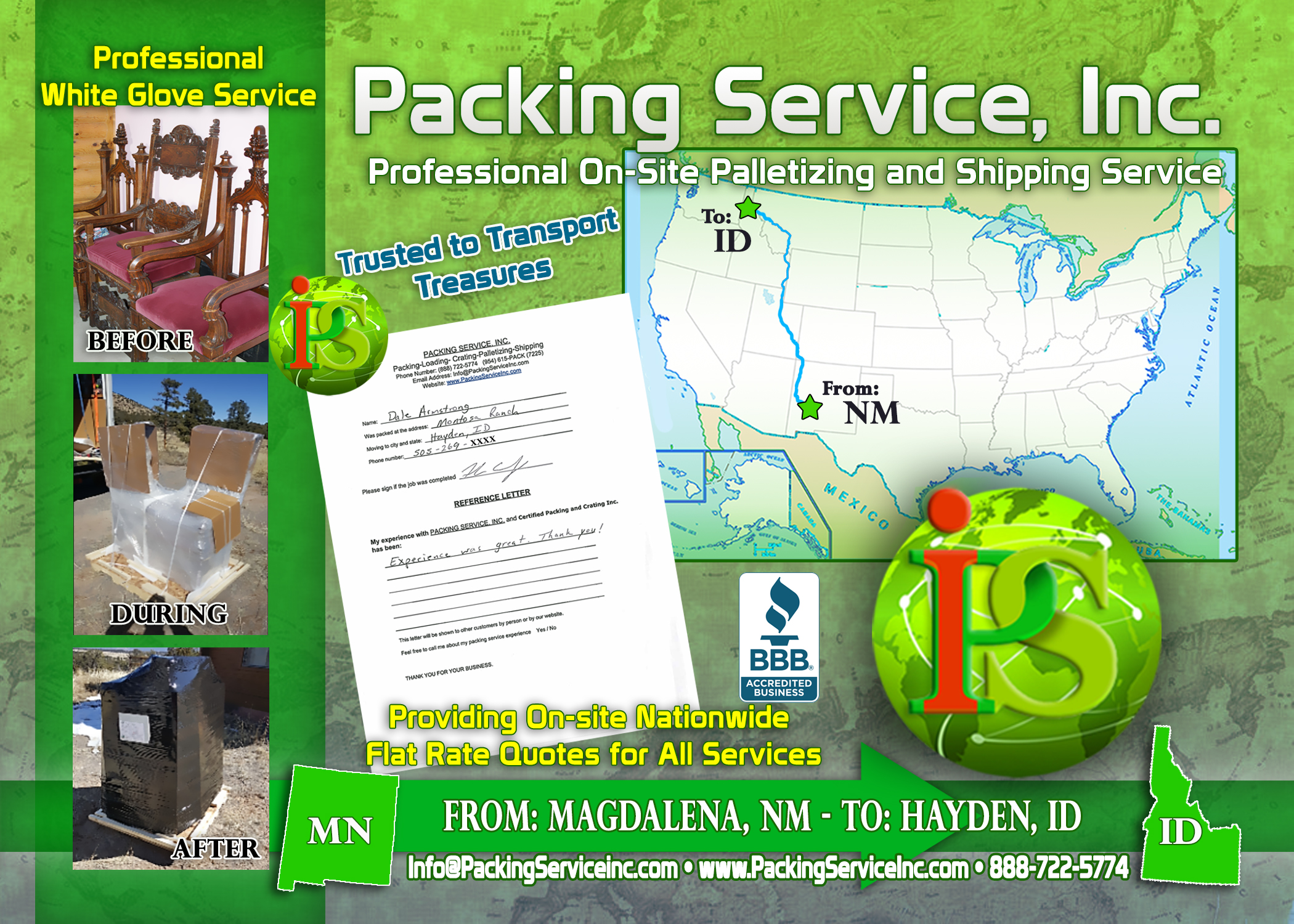 Wrapping 2 chairs, palletizing and Shipping Services NM-ID with Packing Service, Inc. - 731