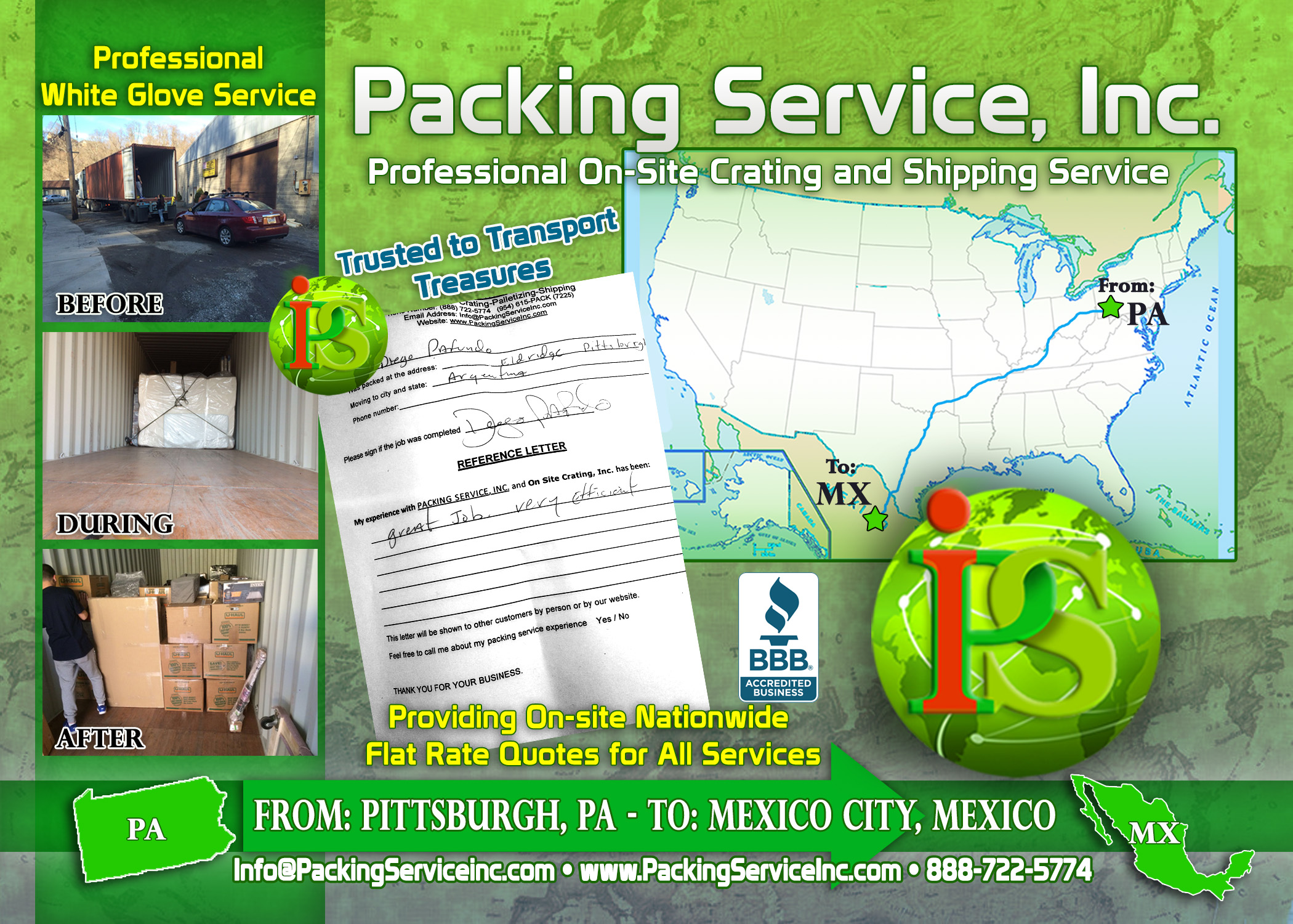 Loading 40 foot international container with car PA-Mexico with Packing Service, Inc A