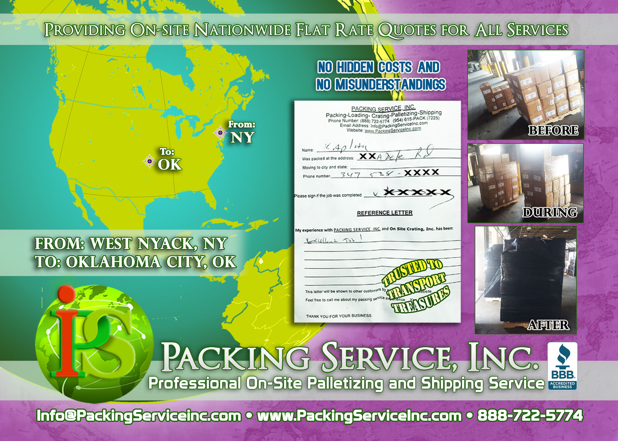 Palletizing boxes and shipping services NY-OK with Packing Service, Inc E