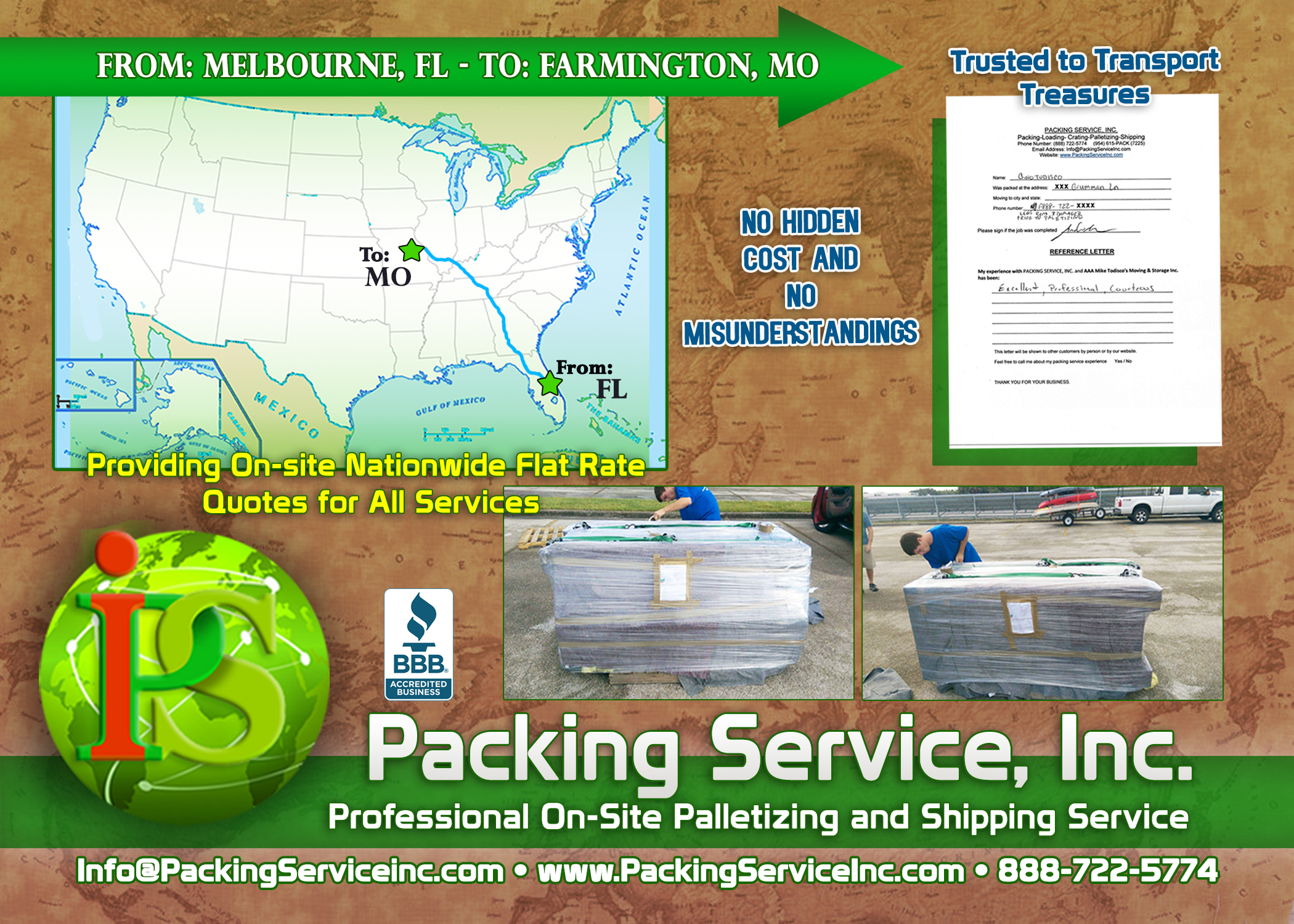 Wrapping 1 desk, Palletizing and shipping services from Florida to Missouri with Packing Service, Inc. - 973