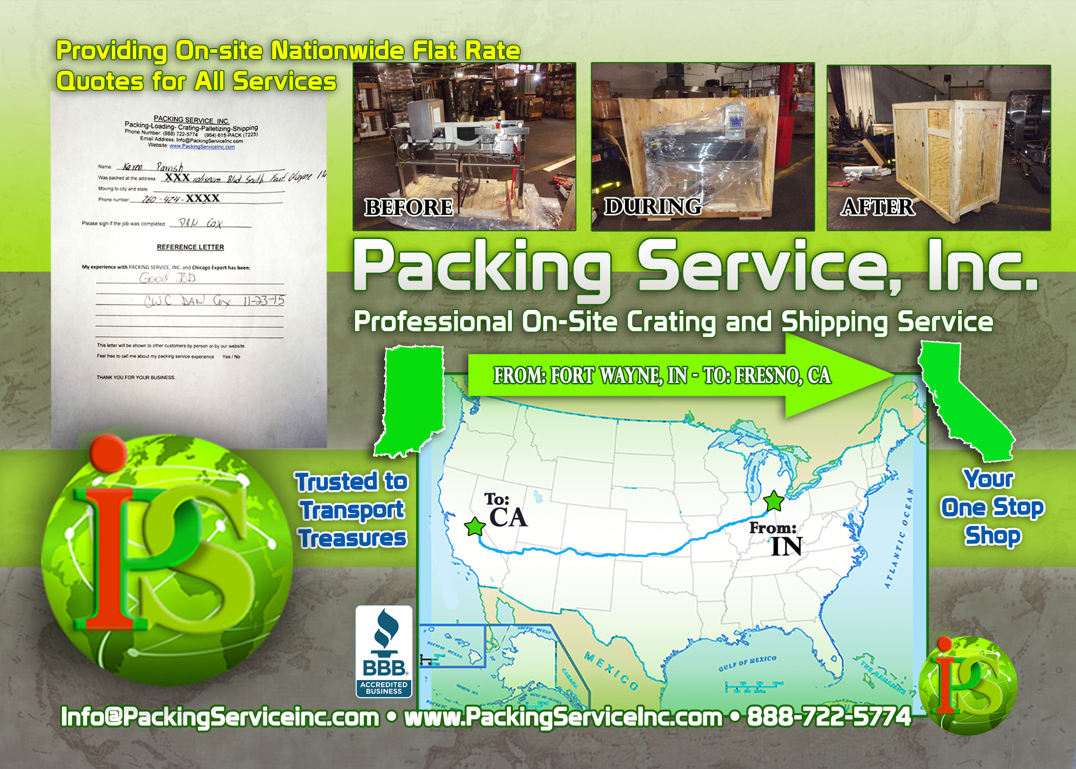 Wrapping, Crating Machinery and Shipping Services IN-CA with Packing Service, Inc. - 722
