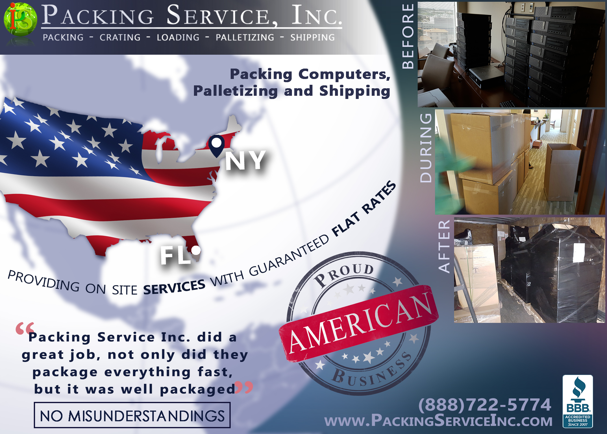 Packing boxes with computers, palletizing and shipping from Florida to New York with Packing Service, Inc. - 182