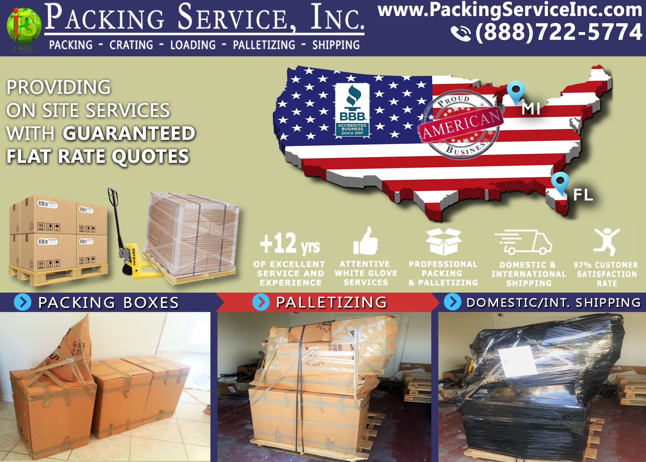 Packing Service, Inc. Ships Domestic and International