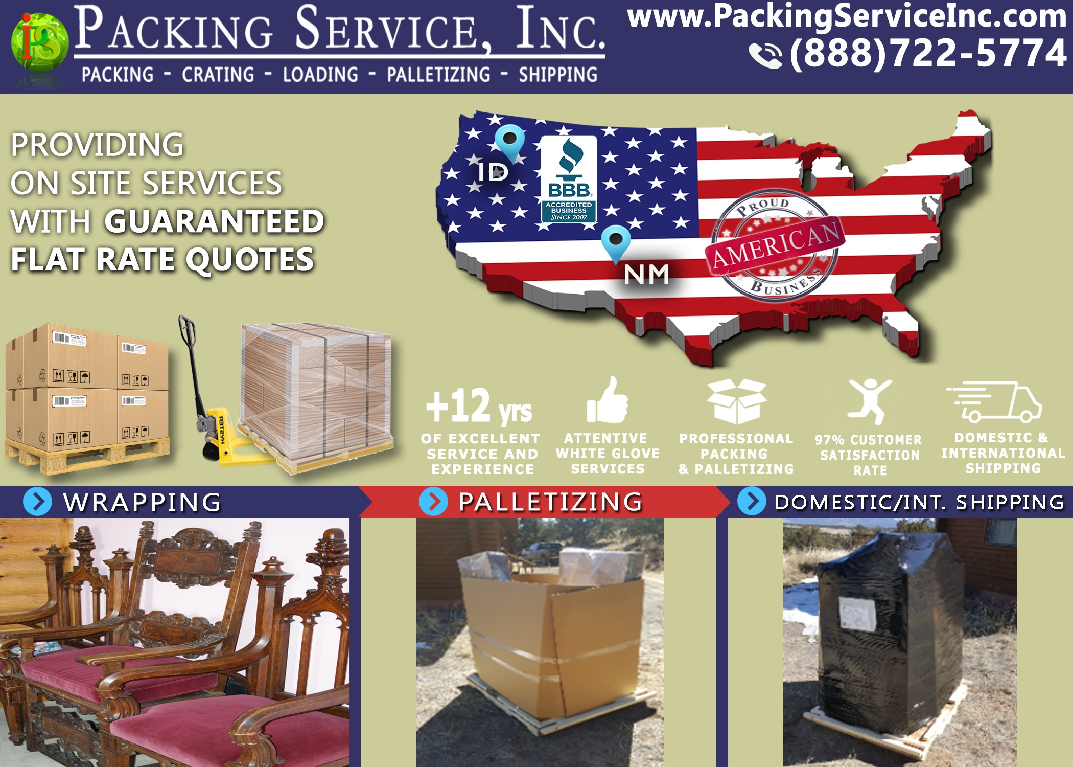 Packing Service, Inc. provides Packing, Wrapping, Loading, Crating, Palletizing, and Shipping services