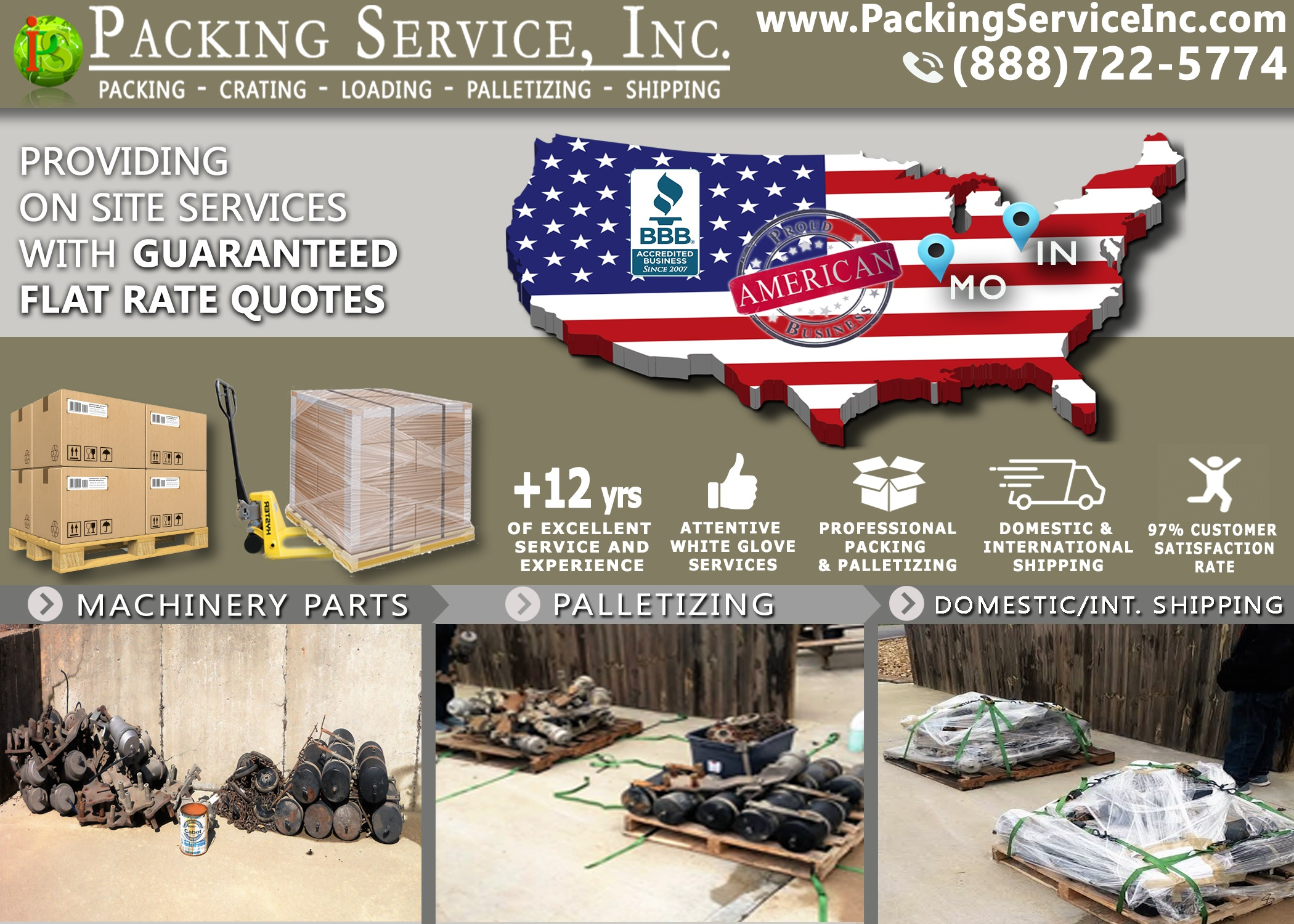 Wrapping, Palletizing and Shipping from WARRENSBURG, MO to North Vernon, IN with Packing Service, Inc. - 731