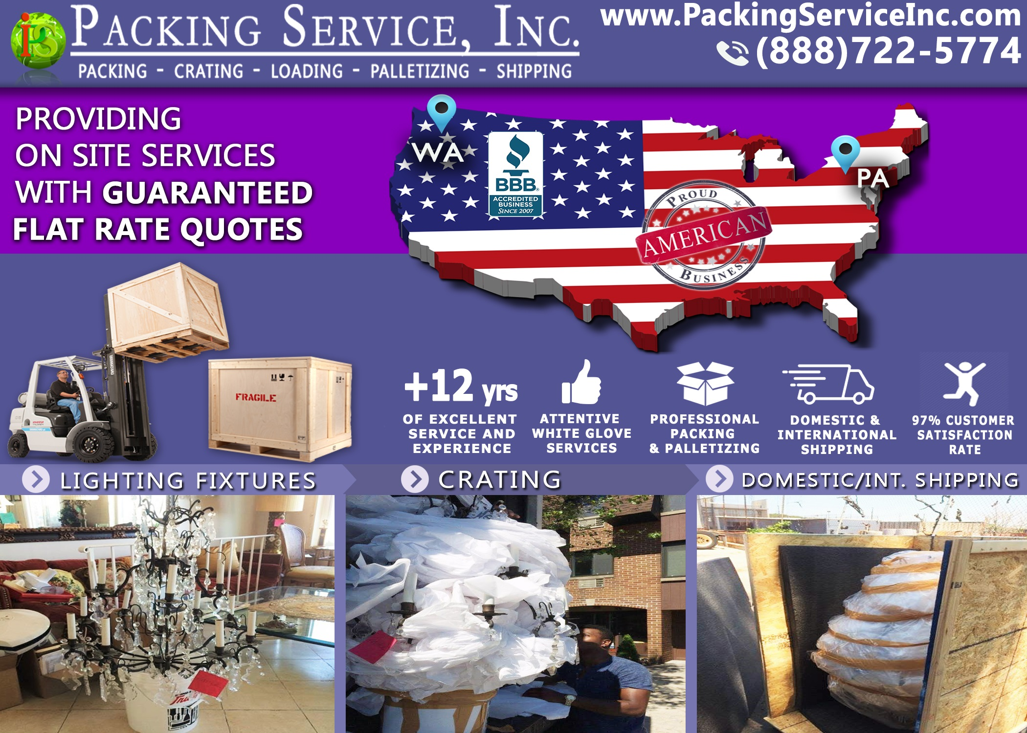 Professional Custom Crating Team will pack and wrap your Chandelier or Fragile Item then build a custom wooden crate around it for Shipping
