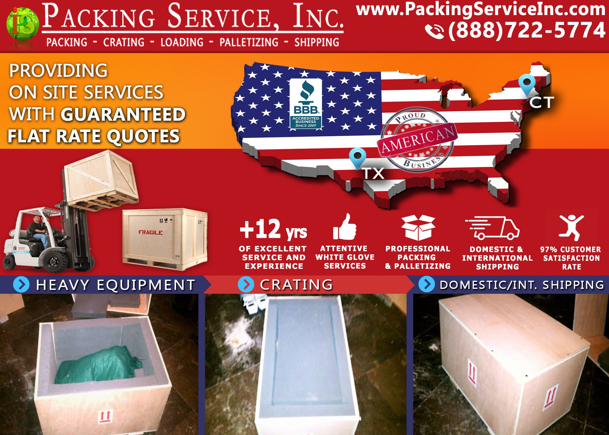 Custom Crating and Shipping from Connecticut to Texas with Packing Service, Inc. - 595