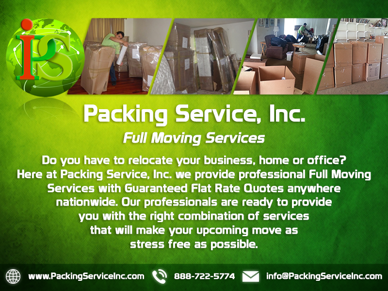 Packing Boxes, Moving Services, Furniture Wrapping by Packing Service Inc