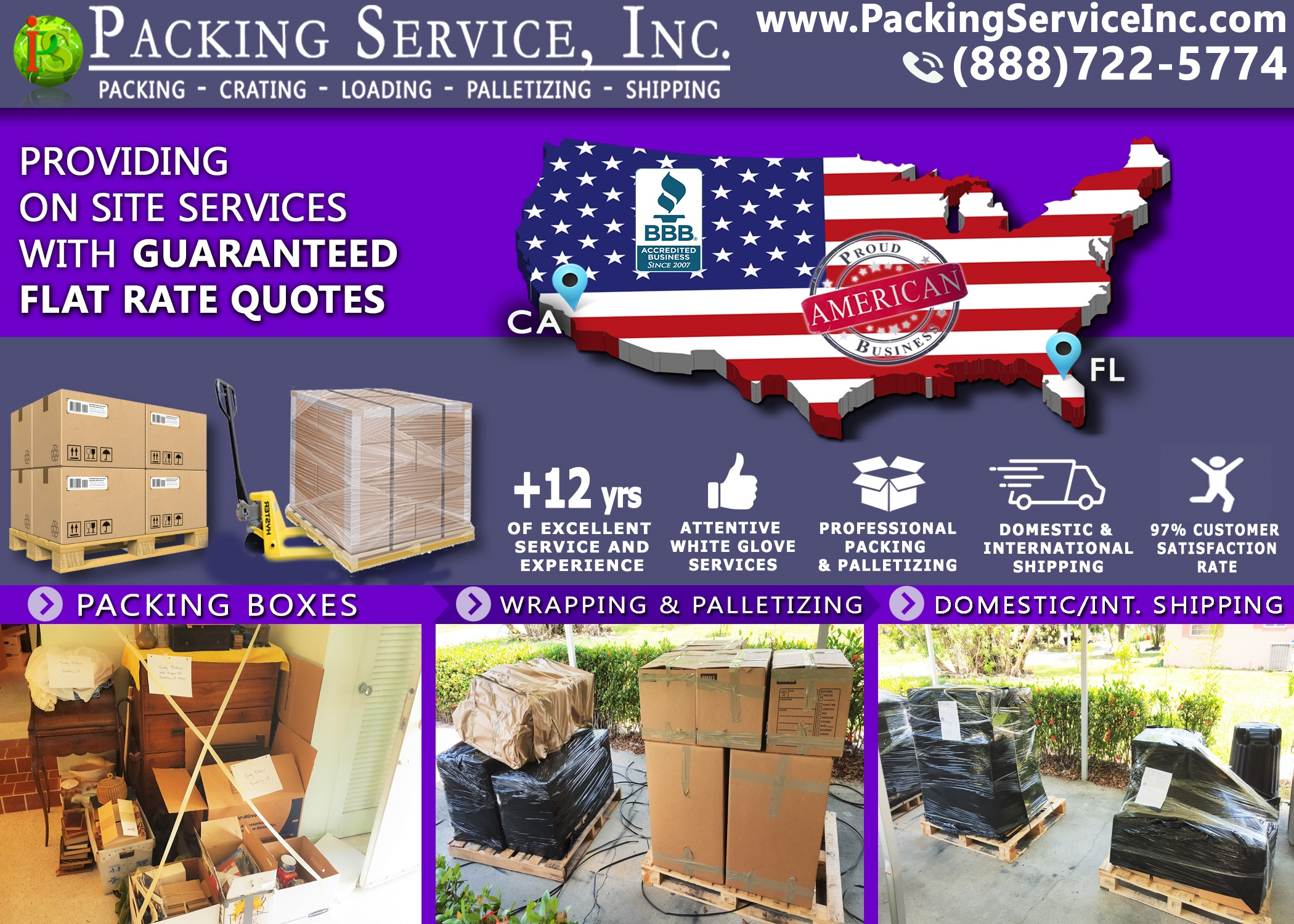 Packing Boxes, Palletizing and Shipping from Florida to California with Packing Service, Inc. - 224