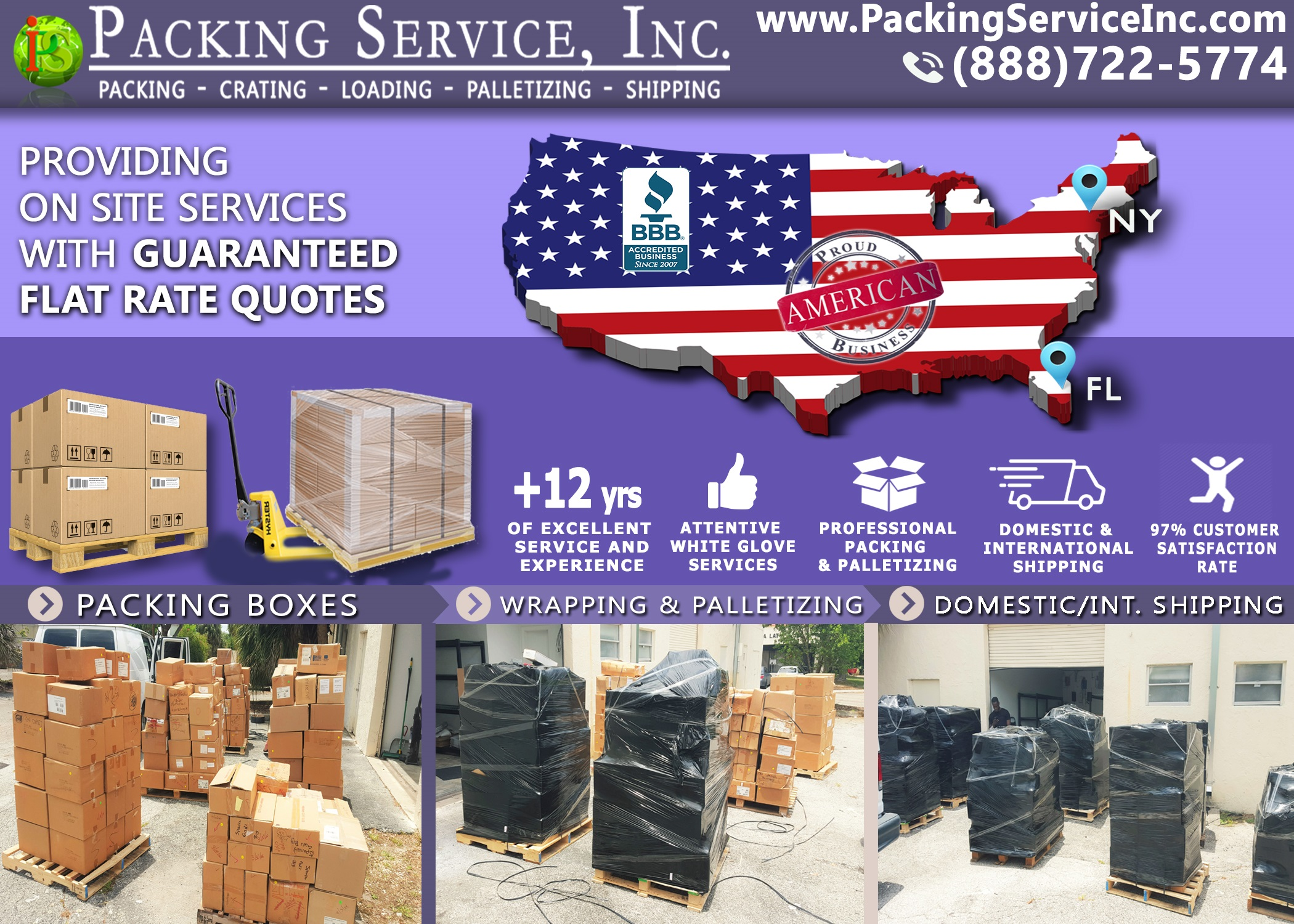 Packing Boxes, Palletizing and Shipping from Fort Lauderdale, Florida to New York, NY with Packing Service, Inc. - 774