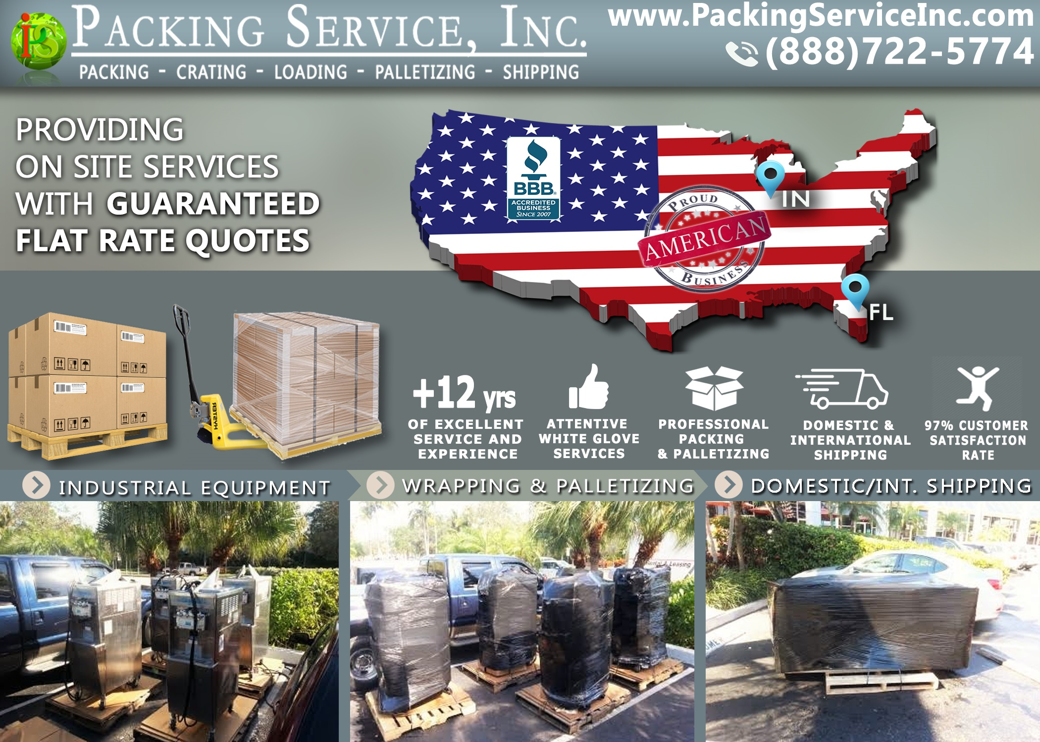 Wrapping Ice Cream machines, palletizing and shipping from Florida to Indiana with Packing Service, Inc. - 775