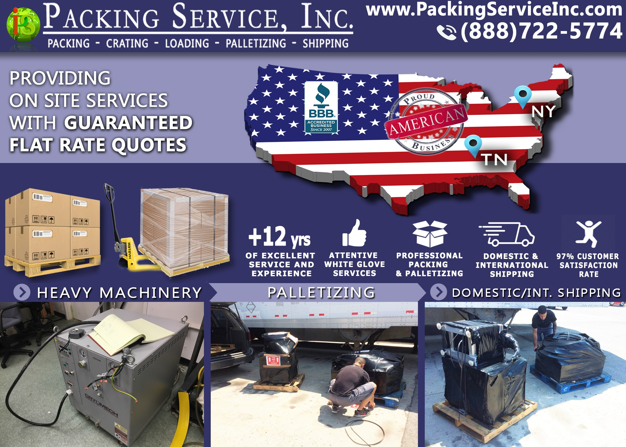 Wrapping, Palletizing and Shipping from New York, NY to Oak Ridge, TN with Packing Service, Inc. - 965