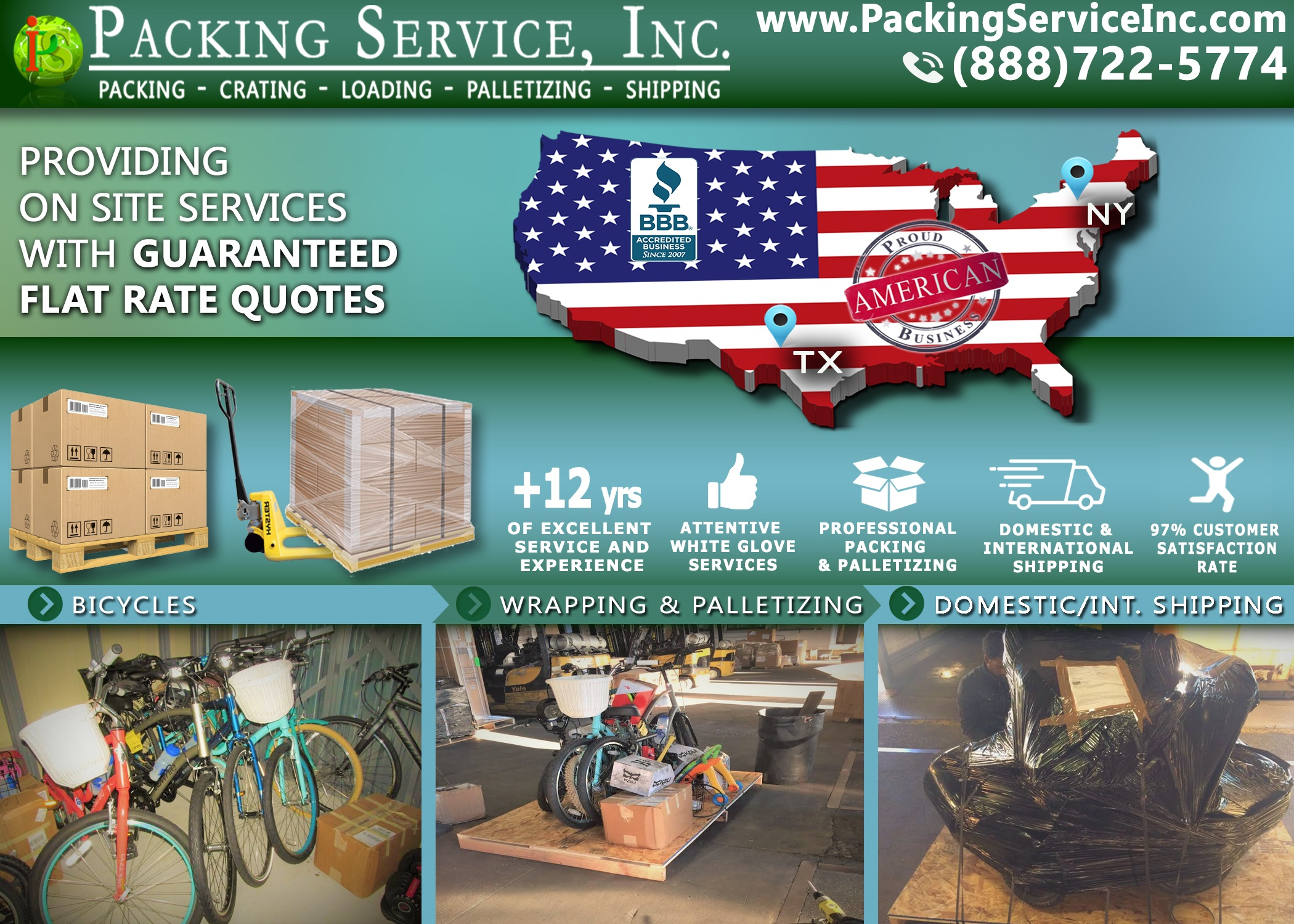 Wrapping bikes, custom palletizing and shipping services from NY to TX with Packing Service, Inc. 787