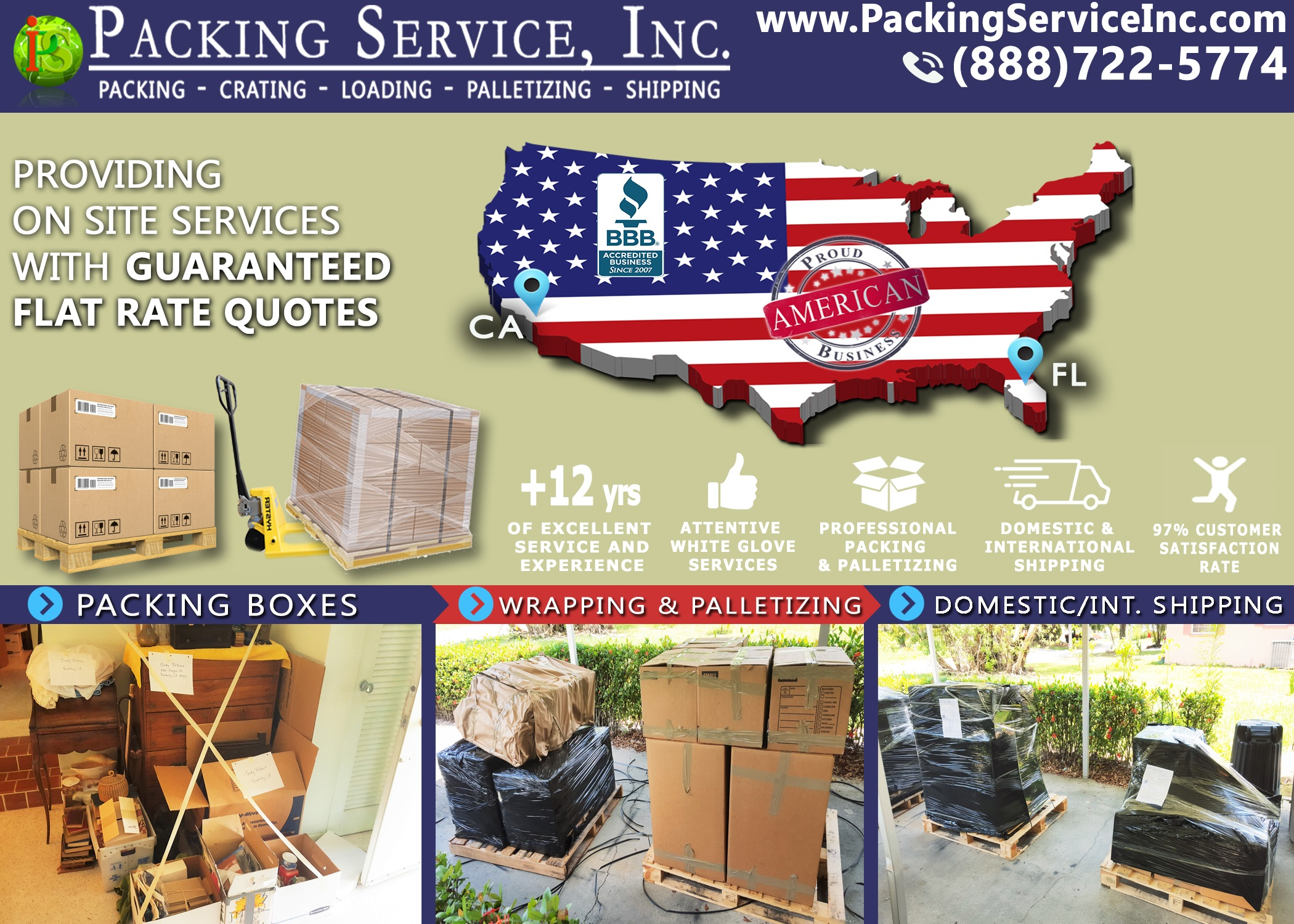 Packing Boxes, Palletizing and Shipping from Florida to California with Packing Service, Inc. - 221