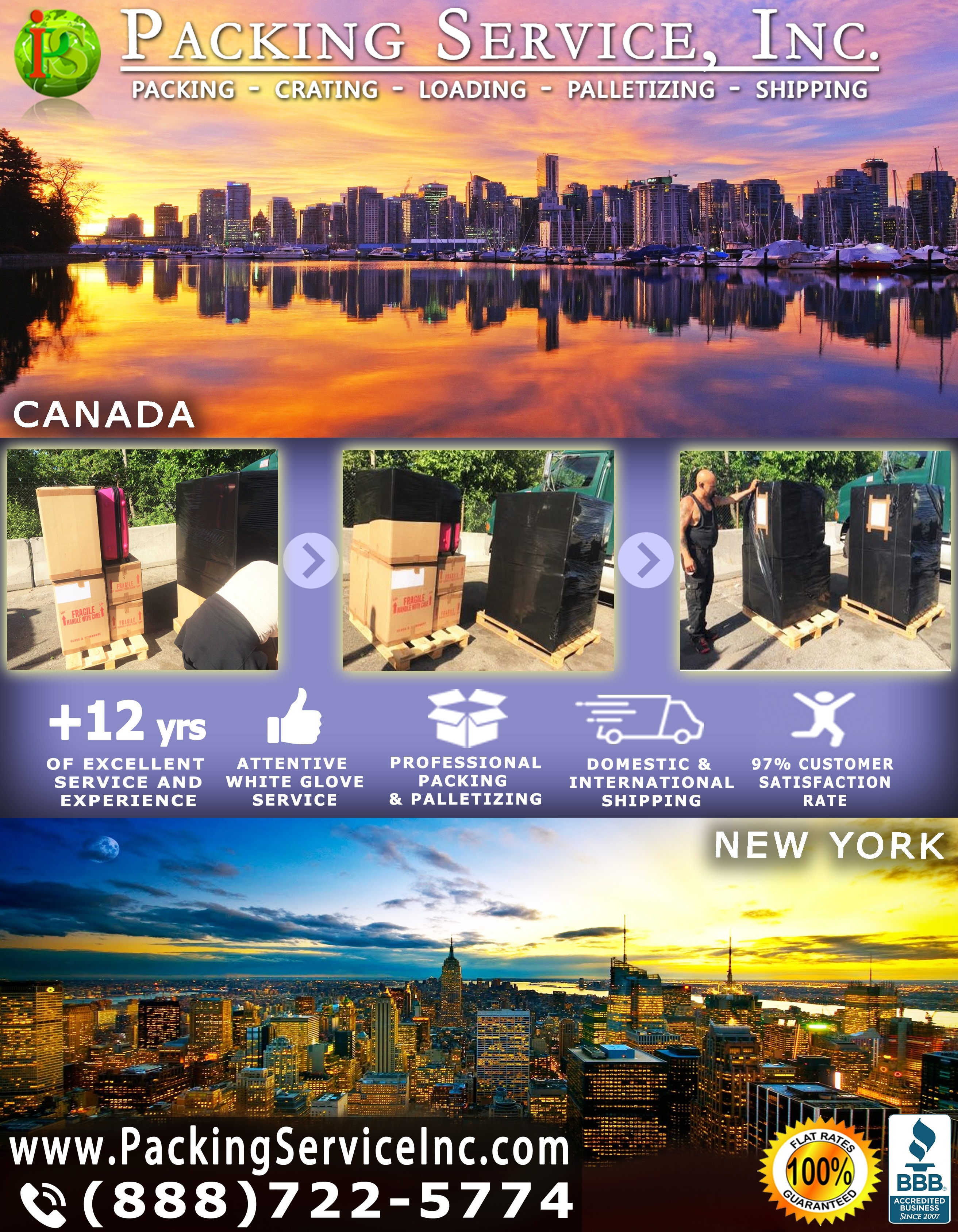 Packing Boxes, Palletizing and Shipping from New York to CANADA with Packing Service, Inc. - 589