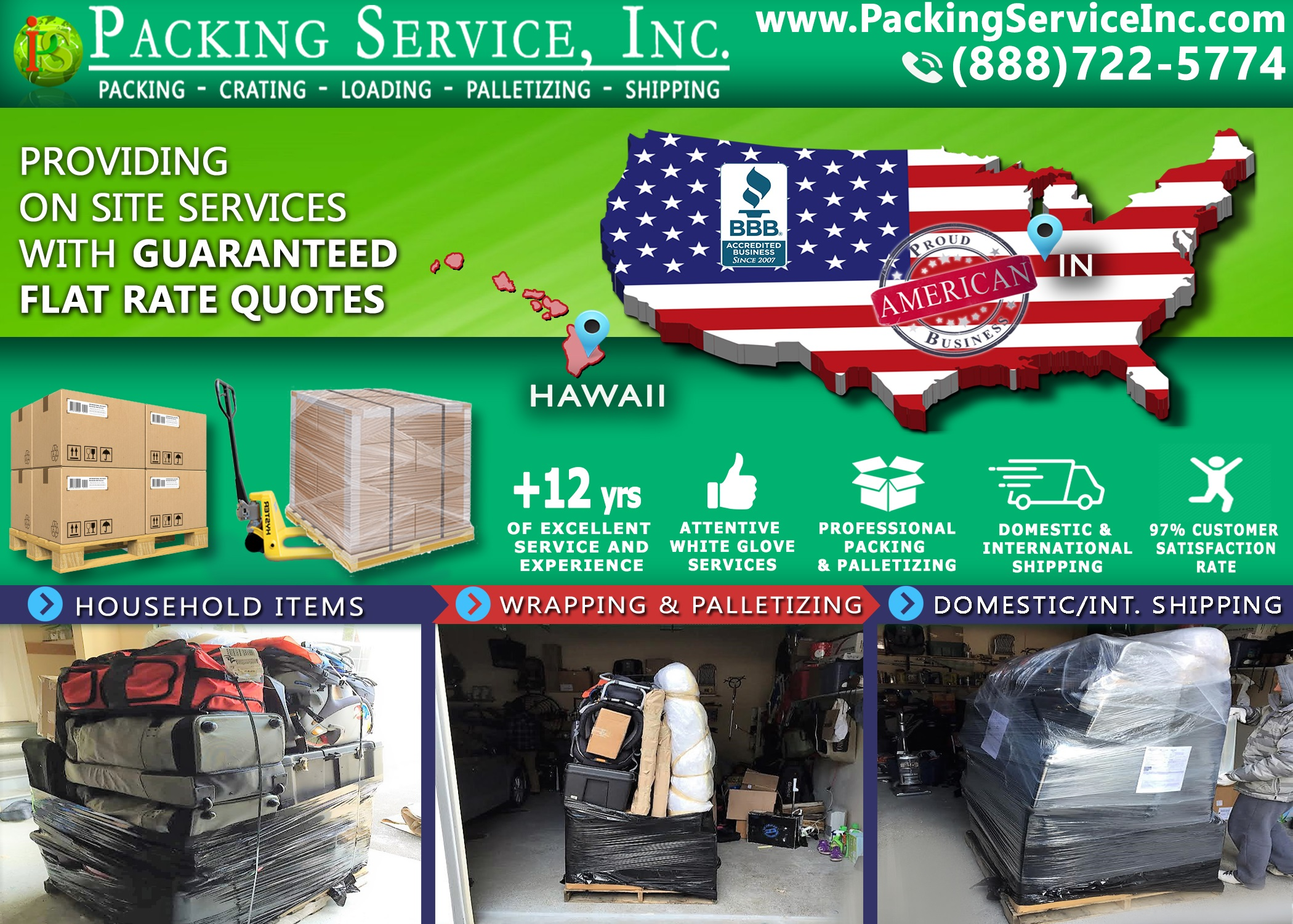 Palletize suitcases and boxes and Ship from Indiana to Hawaii with Packing Service, Inc. - 834
