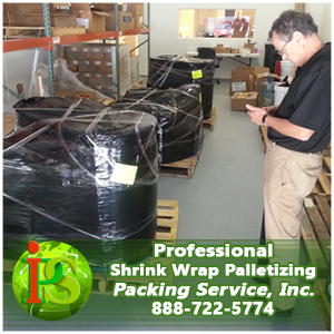 Shrink Wrapping and Palletizing- Each and every one of our palletizing crew must have experience providing on-site shrink-wrapping and palletizing services for at least one year before they can work with our company. We are professionals and we will only work with other professionals who are serious about offering only the best in shrink wrapping and palletizing services nationwide. Whether you require us to palletize boxes, palletize machinery, or palletize furniture, our team of professionals can handle any job and any size item, in a fraction of the time it will take those other guys. We only use quality wooden pallets, built strong and for the purpose of either domestic or international Shipping Services. As with all our services, our shrink-wrapping and palletizing will always be provided within our one guaranteed flat rate quote.