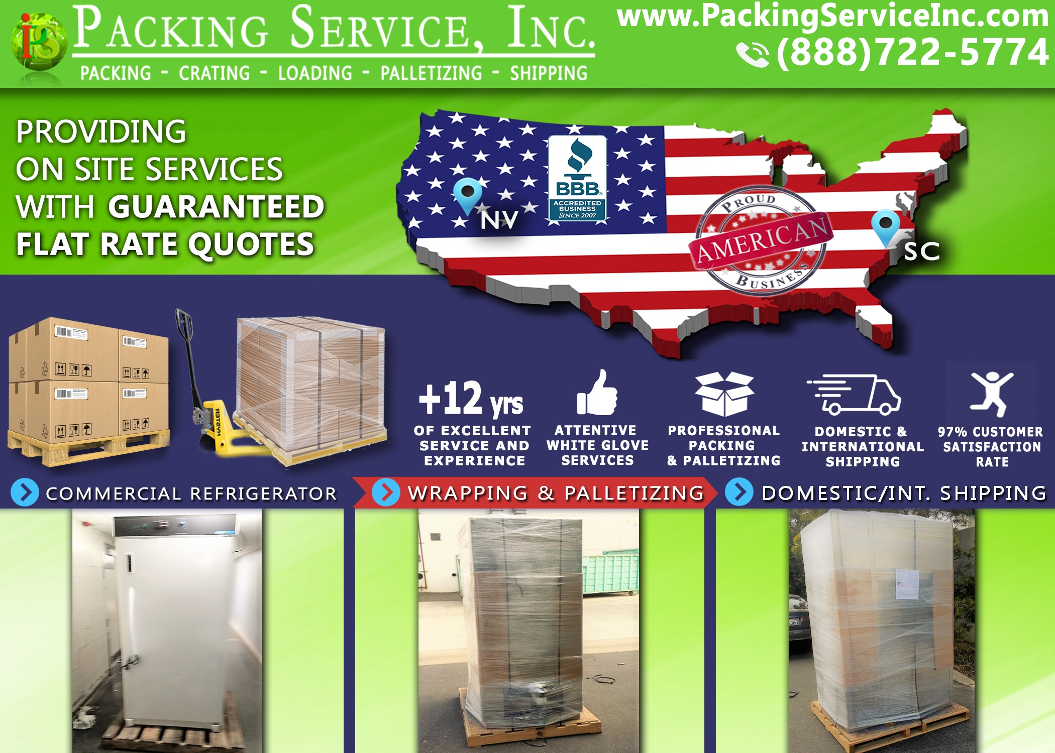 Wrap Commercial Fridge, Palletize and Ship from Nevada to South Carolina with Packing Service, Inc. - 272