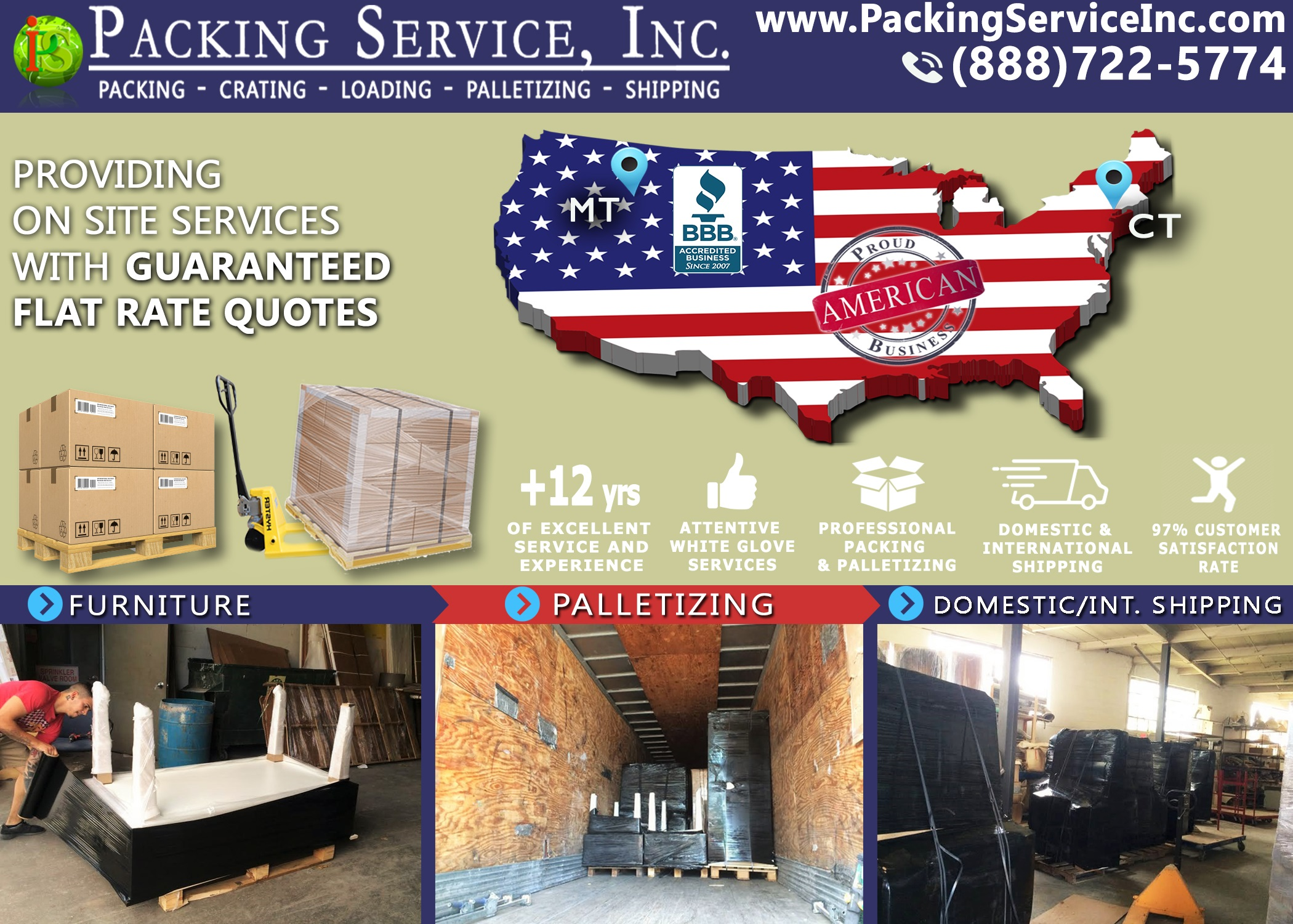 Wrapping New Furniture, Palletizing and Shipping from Conneticut to Montana with Packing Service, Inc. - 596