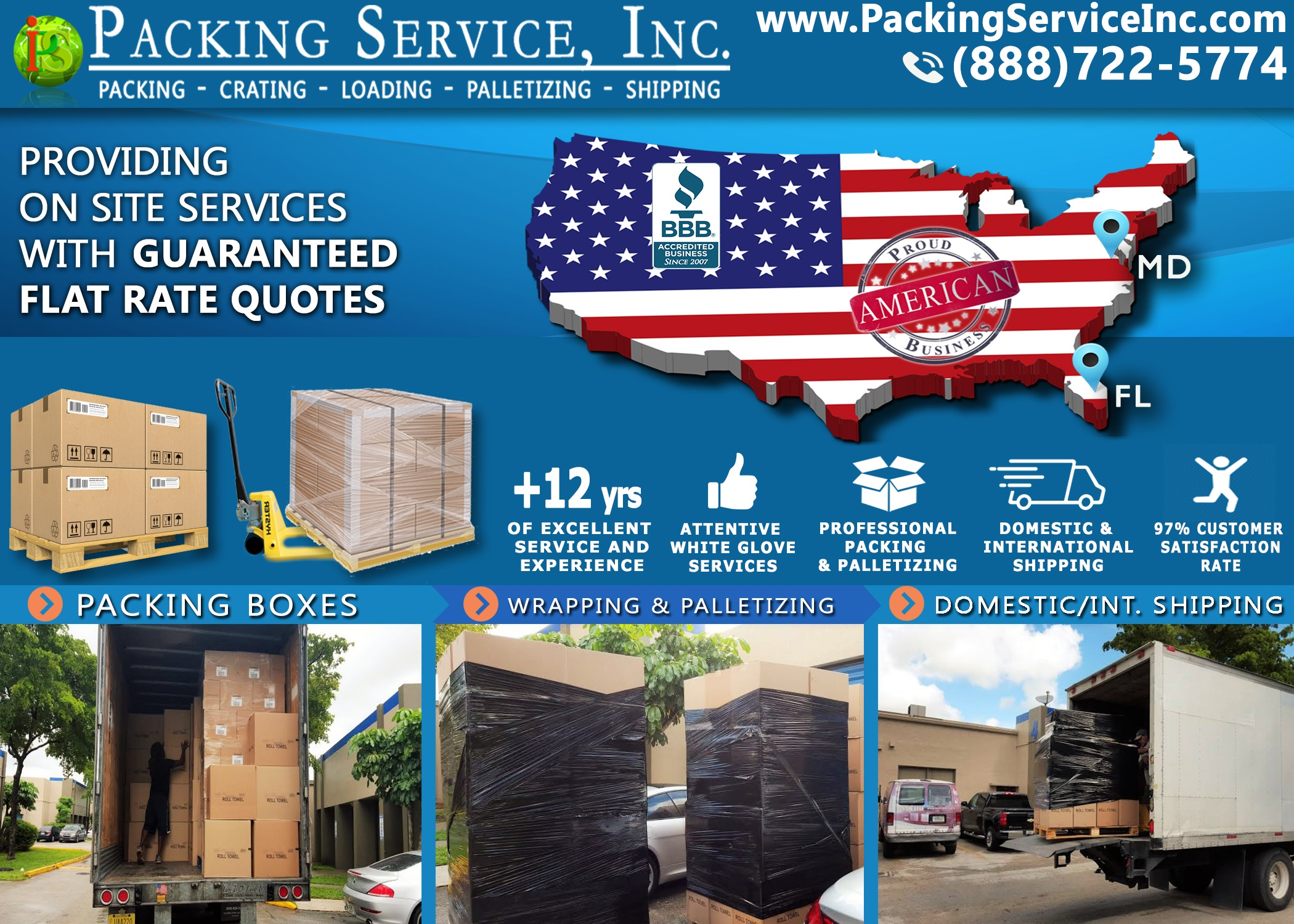 Packing boxes, Palletizing and Shipping from Miami, FL to Maryland with Packing Service, Inc. - 894